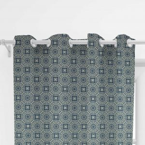 Bedroom curtain with white circles on blue background