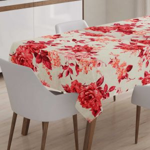 Tablecloth with roses in solmon – carmine colors