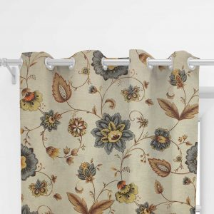 Living room curtain, Patricia gris with beige background