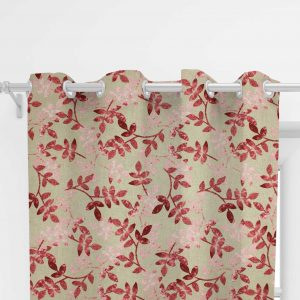 Custom-made curtain, watermelon - pink leaves on a beige background (29)