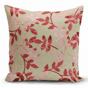 Decorative pillow, watermelon - pink leaves on beige background